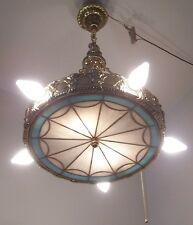 Vtg Art Deco Chandelier Batwing Stained Glass Fixture 7 Light Rewired USA #W10