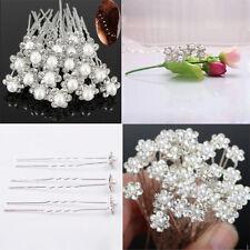 New 20x Wedding Bridal Pearl Flower Crystal Hair Pins Clips Bridesmaid Dresses