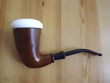 Collectible Sherlock Holmes Calabash Style Hand Craved Ceramic Insert Wood Pipe