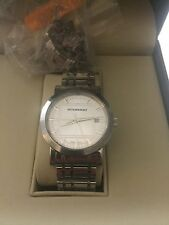 Burberry Mens Sterling Silver Case Bracelet Watch With Extra Links