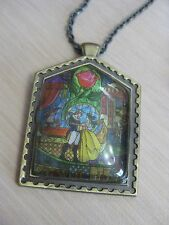 Disney Beauty and the Beast Stained Glass Window Necklace Belle Vincent 34""