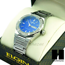Men Silver Tone Iced Out Diamond Blue Round Dial Elgin Stainless Bracelet Watch