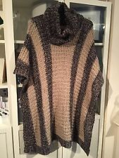 813 Plus One Size 18/20/22/24/26 Brown Chunky Knit Long Poncho/Jumper