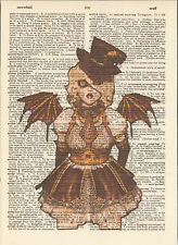 Steampunk Angel Wings Girl Altered Art Print Upcycled Vintage Dictionary Page