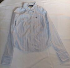 LADIES VINTAGE LARGE ABERCROMBIE & FITCH LT BLUE PINK STRIPED SHIRT CHEST 38""