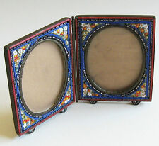 Double Picture Frame Hinged Folding Handcrafted Italian Micro Mosaic Antique
