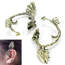 1 Pair Gothic Punk Rock Fly Dragon Design Ear Cuff Wrap Clip Earrings Cosplay