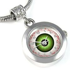 Evil Eye Ball Silver Quartz Watch European Spacer Charm Bead For Bracelet EBA111