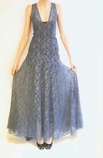 Petrol blue vintage style cross back floral lace maxi dress with full skirt