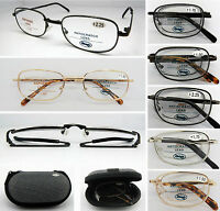 L492 High Quality Foldable Reading Glasses With Case+100+125+150+175+200+225+250
