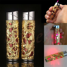 Golden Cigarette Cigar Lighter Windproof Refillable Butane Gas Jet Flame Torch