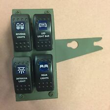 HUMVEE 4-GANG GREEN ROCKER SWITCH PANEL WITH SWITCHES