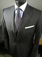 Current $3000 ERMENEGILDO ZEGNA Wool Suit Black Blue Pinstriped 48 38 Reg