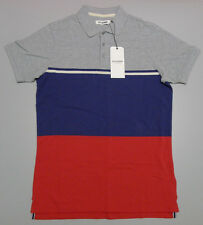 Ben Sherman Men's Medium Striped Red White Grey Blue Cotton Polo Shirt $79.95