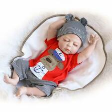 "22"" Full Body Silicone Reborn Baby Sleeping Doll Soft Vinyl Lifelike Newborn Boy"