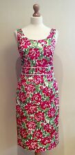 LAURA ASHLEY SHIFT DRESS SIZE 12 WHITE GREEN PINK FLORAL COTTON