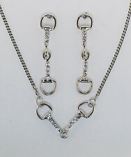 NEW Silver Tone Horse Equestrian Crystal Snaffle Bit Necklace and Earrings Set