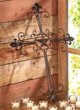 New! Wrought Iron Lone Star Wall Cross Spiritual Art Sculpture Decoration 14576