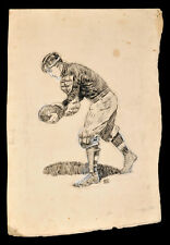 """orig. 1905 FOOTBALL """"PUNTER"""" pen-and-ink DRAWING by ROY GAMBLE (1887-1972)"""
