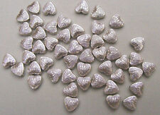 50 Antique Silver-Plated Heart Beads (BD019) FREE POSTAGE