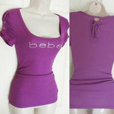 BEBE PURPLE LOGO BACK LACE UP EPAULETTE TOP NEW NWT SMALL S