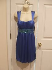 NWT My Michelle BLUE SEQUIN Holiday cocktail Party Dress Built In bra Junior M