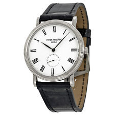 Patek Philippe Calatrava Automatic White Dial 18 kt White Gold Mens Watch 5119G