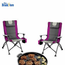 Folding Camping Chair Set 2 Portable Outdoor Fishing Chairs Travel Hiking Gear