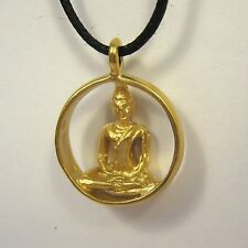 Buddha Pendant 14K Gold over Bronze Necklace USA Made Mens Jewelry Sitting