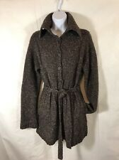 J Crew Womens Tweed Chunky Knit Belted Sweater Cardigan Size S Heather Brown