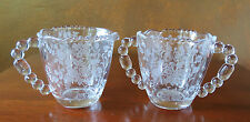 Tiffin Rose Crystal #17441 Cream Pitcher & Sugar Bowl Set Table Size