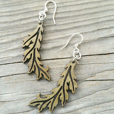 FLOWING LEAF laser-cut wood earrings Green Tree Jewelry APPLE GREEN USA 1448