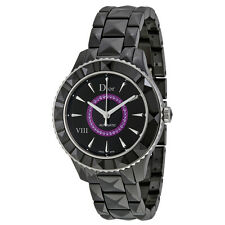 Christian Dior VIII Black Dial Black Ceramic Amethyst Center Ladies Watch