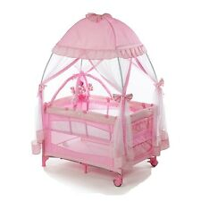 PACK AND PLAY W/ MOSQUITO NET BABY PLAY PEN INFANT NAPPER BASSINET PINK NEW