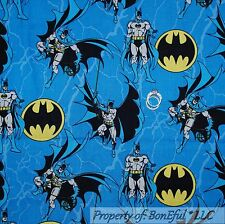 BonEful Fabric FQ Cotton Quilt Blue Black Yellow Batman Super Hero Logo Cape Boy