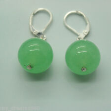 Huge 14mm Green Jade Gemstones Beads Dangle Leverback Silver Hook Earrings
