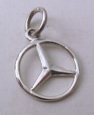 SOLID 925 STERLING SILVER SMALL 3D MERCEDES BENZ SIGN LOGO CAR Charm/Pendant