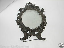 Flowers & lvy cast heavy metal ornate frame vanity mirror old antique 1800's