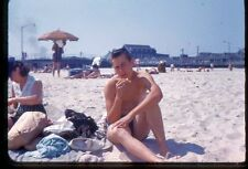 35mm Color Slide - Young Man Smoking Cigarette Beach Gay Int. 1960 #