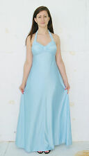 Vintage 1970's Disco Era Light Blue Halter Formal Gown Prom Dress Size 4 to 6