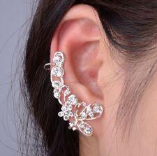 Retro Crystal Butterfly Flower Clip Ear Cuff Studs Earring Wrap Girl Jewelry