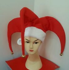 Christmas santa red jester hat fancy jingle bells dress party costume