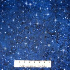 Christmas Fabric - Marblehead North Woods Blue Stars - Fabri-Quilt YARD