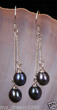 6-7mm Genuine Natural Black Freshwater Pearl Sterling Silver Dangle Earrings