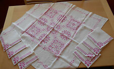 VTG Hand Embroidered Lunch Table Cloth & 8 Napkins Pink Cross Stitch 4 SM Napkin
