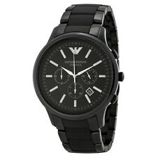 Armani Ceramica Chronograph Black Dial Black Ceramic Mens Watch AR1451