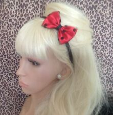 "NEW RED SATIN POLKA DOT SPOT TULLE NET SMALL 3"" SIDE BOW ALICE HAIR HEAD BAND"