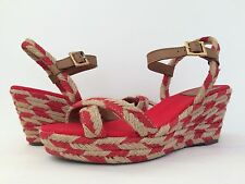 New Tory Burch Camelia Wedge Espadrille Ankle Strap Platform Sandals Red Tan 10M