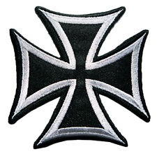 Black & Gray Iron Cross Motorcycles Embroidered Iron on Patch Free Shipping