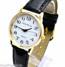 Ladies Philip Mercier Watch White Face Gold Tone Casing Black Strap Free UK P&P*